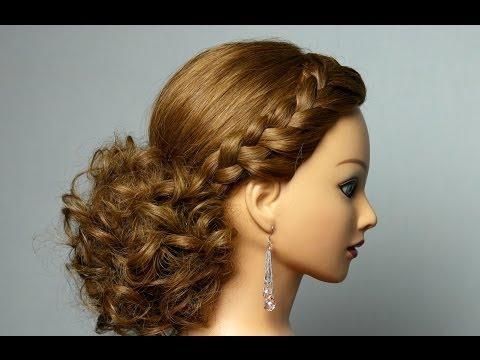 Романтическая прическа с плетением для длинных волос. Romantic hairstyle with braids