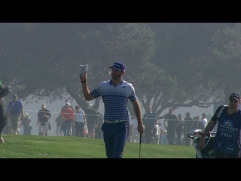 In the opening round of the 2015 Farmers Insurance Open, Dustin Johnson's 159-yard second shot gets a great bounce and rolls in for eagle on the par-4 4th ho...