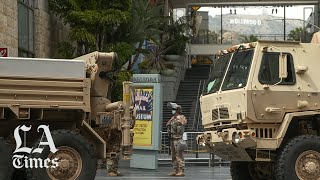 National Guard stationed on Hollywood Walk of Fame