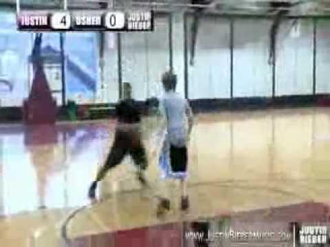 Justin Bieber playing Basketball with Usher
