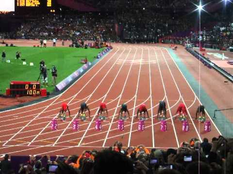 Olympics London 2012 Mens 100m Final - Idiot Throwing Bottle