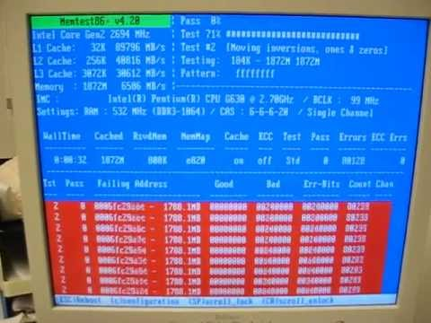 Speicherfehler/RAM, getestet mit memtest86+ 4.20 von der Ultimate Boot-CD 5.1.1