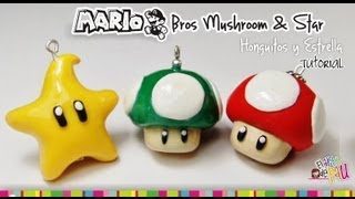 MARIO BROS Mushroom & Star polymer Clay tutorial / hongo y estrella de Mario Bross
