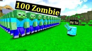 SlenderMan - TRIỆU HỒI THÀNH CÔNG ĐỆ TỬ KIM CƯƠNG ĐÁNH NHAU VỚI 100 ZOMBIE TRONG MINECRAFT