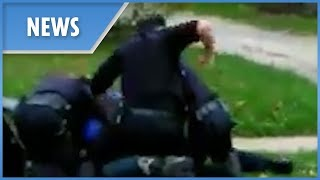Police appear to brutally punch restrained suspect (Akron) FULL
