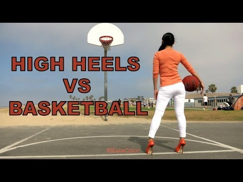 Sexy Woman in High Heels Easily Sinks Basketball Shot