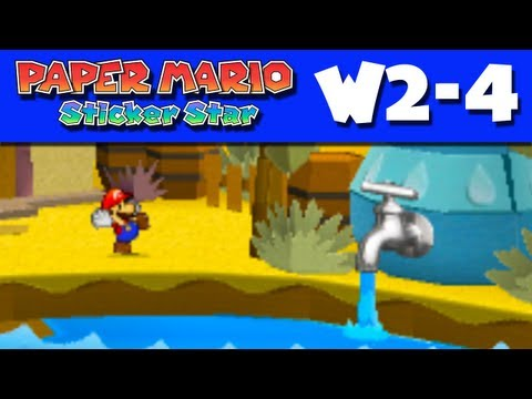 Paper Mario Sticker Star - Gameplay Walkthrough World 2-4 - Damp Oasis (Nintendo 3DS)