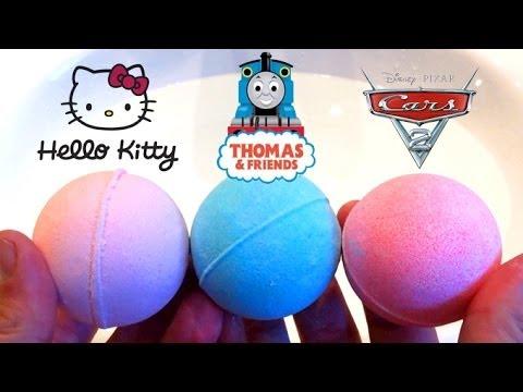 Bath Powder Balls Cars2 Thomas & Friends and Hello Kitty Anpanman by Unboxingsurpriseegg