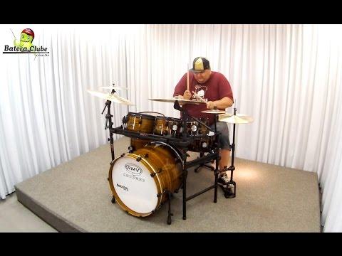 Bateria RMV Concept X5 Yellow Teka Burst Rack System sound check drum set