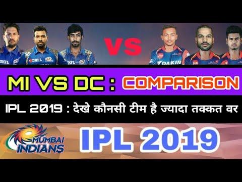 IPL 2019 : Mi vs Dc Comparison 2019 |Mumbai Indians Vs Delhi Capital Team Comparison|Mi playing 11