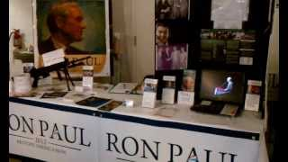 "My Ron Paul table with ""Media Booth"" at the Abilene, Texas Gun Show"