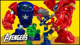Avengers Assemble Toy Story Captain America & Iron Man Robots Battle Thanos Saved By Hulk