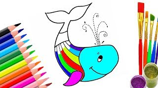 Learn Colors with Blue Whale and Cat Coloring Pages | Drawing for Children | Drawing for Kids
