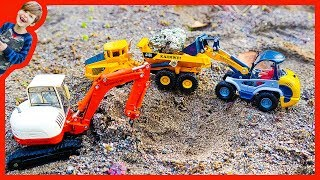 Construction Trucks For Children - Dump Truck and Excavator Digging For Treasure