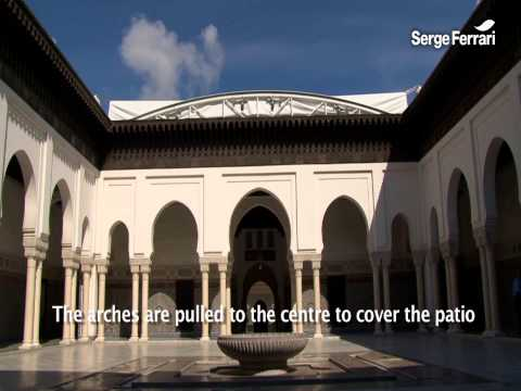 Double curvature retractable roof of the mosque of Paris