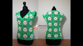 How to crochet daisy top free tutorial all sizes by marifu6a