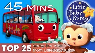 Wheels On The Bus + Bath Song + Ten Little Buses + More   Top 25 Songs for Kids   By LittleBabyBum!