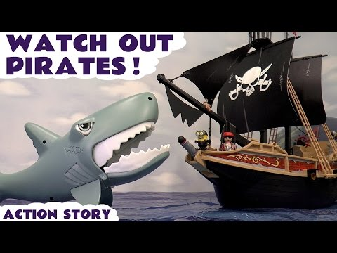 Minions Shark Attack Playmobil Pirate Ship Funny Toy Story Play Doh  Toys Unboxing Review