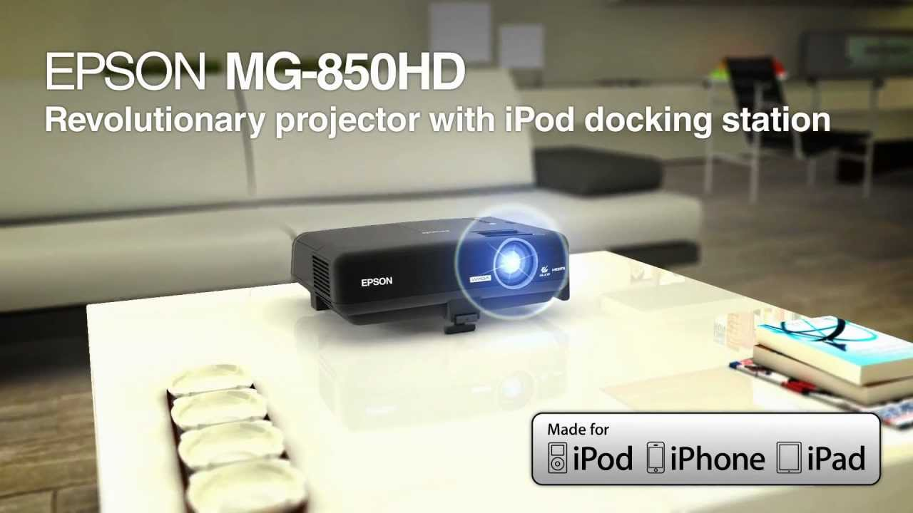 Epson megaplex mg 850hd projector idock ipod iphone for Ipad projector reviews