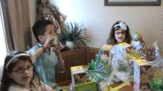 Opening Their Easter Baskets
