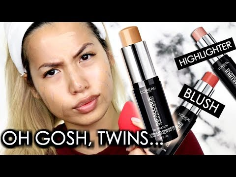 NEW   L'OREAL INFALLIBLE 24HR STICK FOUNDATION   BLUSH & HIGHLIGHTER   OILY SKIN WEAR TEST REVIEW