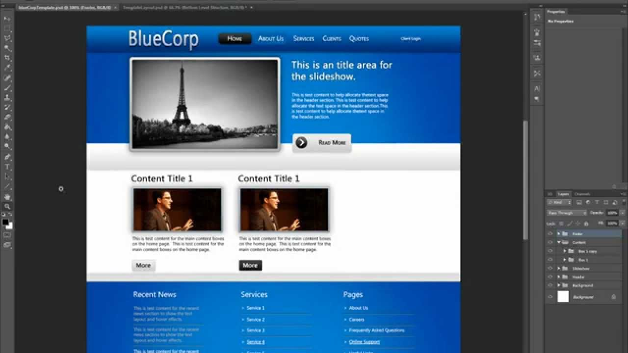 - free website design tutorial - designing a professional website using photoshop cs6  cs5