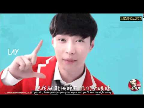[ENGSUB] 141225 EXO x KFC wake up call - Lay Lisa SrRussell