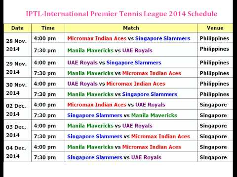 IPTL-International Premier Tennis League 2014 Schedule
