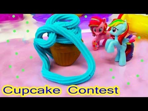 Mlp Pinkie Pie Rainbow Dash Cupcake Contest My Little Pony Playdoh Sweet Shoppe Tower Food video