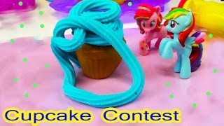 MLP Pinkie Pie Rainbow Dash Cupcake Contest My Lie Pony Playdoh Sweet Shoppe Tower Food