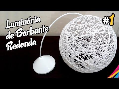 Luminaria de Barbante Redonda / Twine Lampshade Round / Lampara Hecha de Cuerdas DIY #1