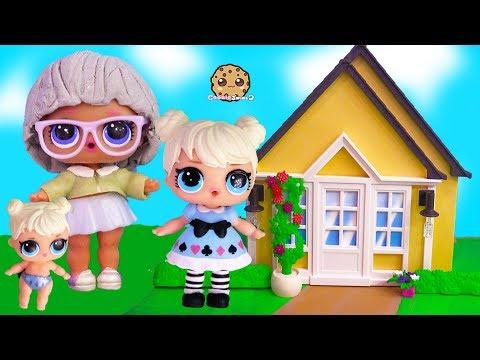 Grandma 's House ! LOL Surprise Big + Lil Sister Cookie Swirl C Toy Video