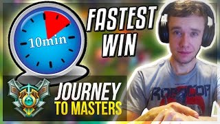FASTEST WIN EVER??  - Journey To Masters #14 S7 - League of Legends