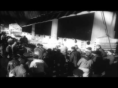 US First Lady Eleanor Roosevelt christens aircraft carrier USS Yorktown (CV-10) d...HD Stock Footage