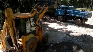 IFA L60 and Hidromek working in the forest