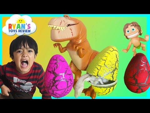 SURPRISE DINOSAUR EGGS HATCHING The Good Dinosaur Toys Kids Video Ryan ToysReview