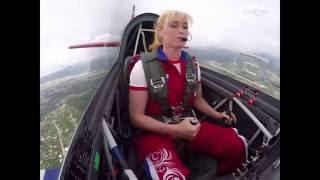Cute Female aerobatic pilot Svelana Kapanina  live on the show The Olympic Sky