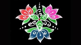 Simple & Easy 2019 Flower Rangoli | 7x4 Middle Dots Latest Flower Rangoli Designs 2019