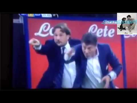 Comically of Walter Mazzarri and assistant Mario Frustalupi during Inter Milan game