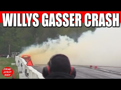2013 Detroit Dragway Reunion Gordon Veal Crash against Rick Perlongo Nostalgia Drag Racing