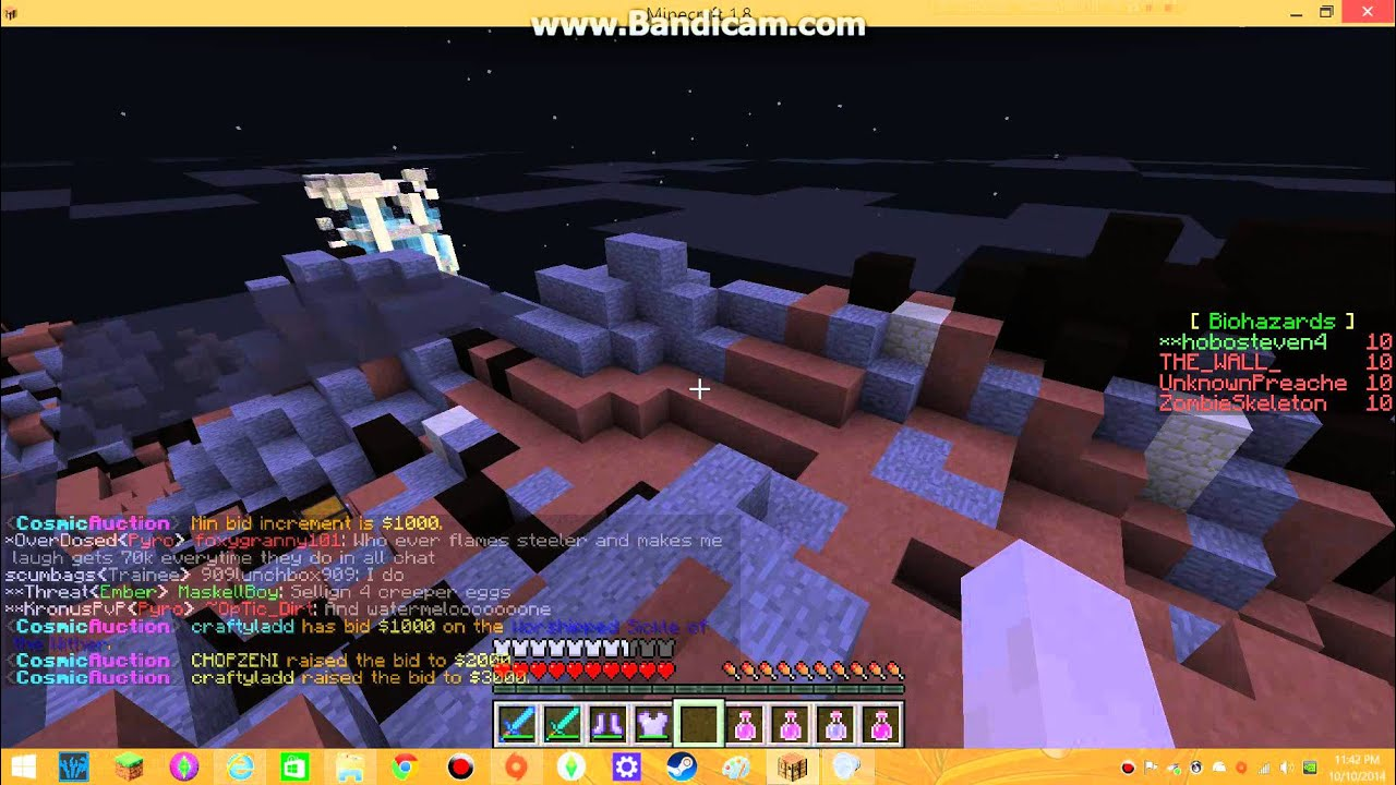 Minecraft cosmic envoy on the cosmic pvp server one salty 3 year