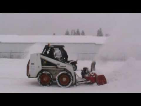 Big Pigg Snow Blower On Bobcat Skid Steer Youtube