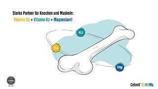 Wichtige Partner für Knochen und Muskeln: Vitamin D,  K und Magnesium. Cefavit D3 K2 Mg von Cefak.