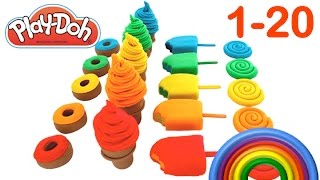 Learn to Count Numbers 1 to 20 with Play Doh Surprises Shopkins Inside Out RainbowLearning
