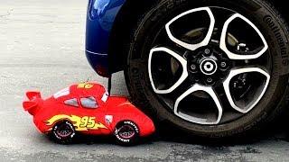 Disney Cars Lightning McQueen Thomas  Toy Train Car Crushed Video for Kids, Children