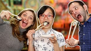 Como comer com palitinho japonês ft. SISI PULA MURALHA 🔵Manual do Mundo