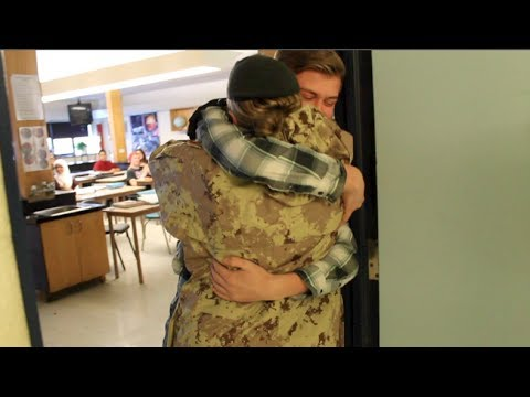 Military Mom Surprises Son At School video