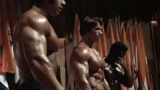Mr. Olympia 1975 - Arnold Schwarzenegger, with Serge Nubret and Lou Ferrigno