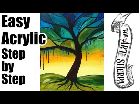 Tree Painting with a Twist beginner art lesson acrylic online tutorial with drips