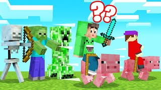 MINECRAFT But We Are STUCK ON PIGS! (Funny)